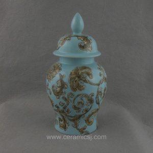 WRYPU12 handmade blue glaze flower Porcelain Jar