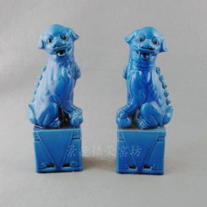 Blue Porcelain Foo Dog Figurine WRYJZ05