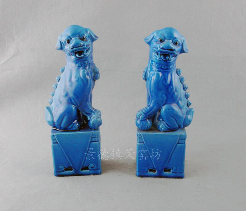 Blue Porcelain Foo Dog Figurine Wryjz05 Jingdezhen