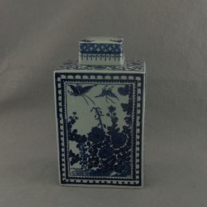 RYTM03 Blue and white floral porcelain square jar