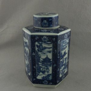 WRYTM04 Blue and white porcelain hexagon round jar