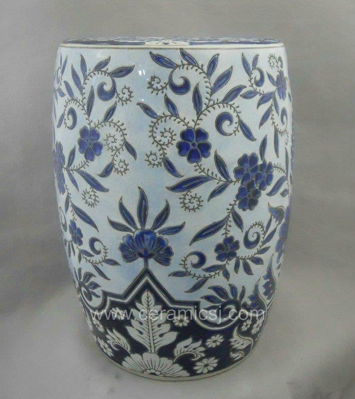 blue and white flower design Garden Stool WRYPU11