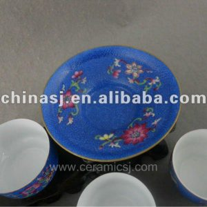 beautiful blue ceramic Tea set with flower design WRYTN01