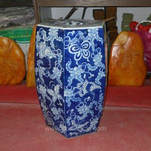 Asian Flower butterfly Drum Antique Stool WRYSI09