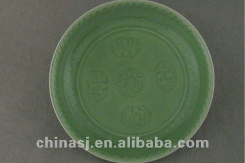 Beautiful green glazed porcelain plate with beautiful design WRYPE05