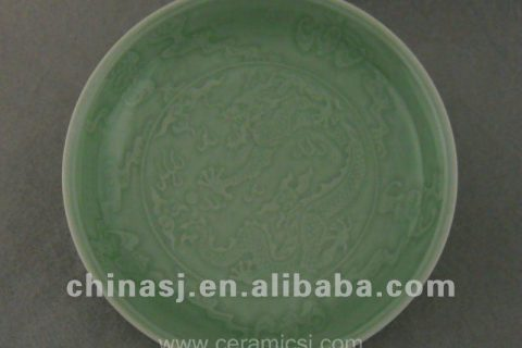 Beautiful green glazed porcelain plate with beautiful design WRYPE07