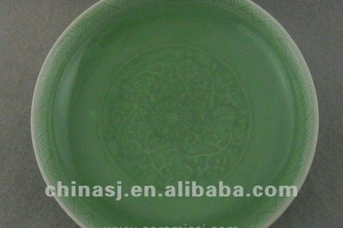 Beautiful green glazed porcelain plate with beautiful design WRYPE08