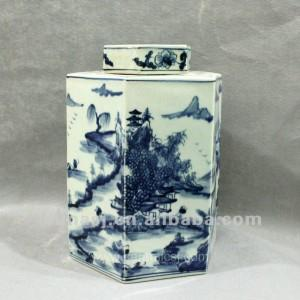 RYUK10 Blue and white hexagon porcelain jar