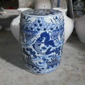 Ceramic Garden Stool Blue and white fish design WRYSI04