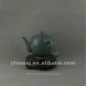 Ceramic green glaze Tea Pot with strange Handle WRYQN28
