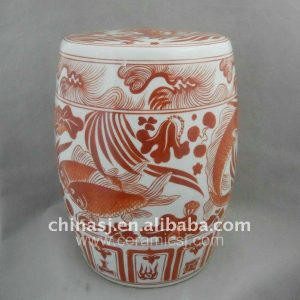 Chinese fish and flower Ceramic Stool WRYNQ14