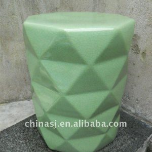 Crackled Green ceramic Outdoor Stool WRYKB60