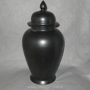 Matte black ceramic ginger jar WRYKB79