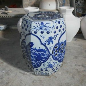 Octagon Ceramic Garden Stool Blue and white fish design WRYSI03
