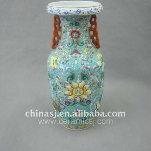 Qing Dynasty green Famille rose Ceramic Vase WRYRD01