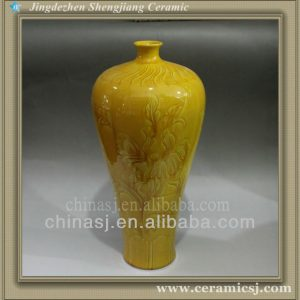 RYJN11 hand carved chinese ceramic yellow vase