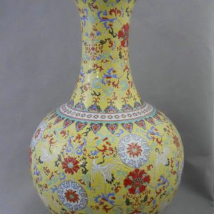 RYRK01 Qing Qianlong Dynasty yellow Famille rose Vase