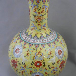 RYRK02 Qing Qianlong Dynasty yellow Famille rose Vase