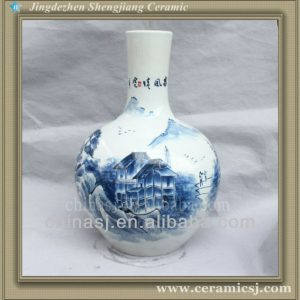 RYSV18 hand made blue and white pottery vase