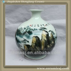 RYSV19 hand made green pottery vase