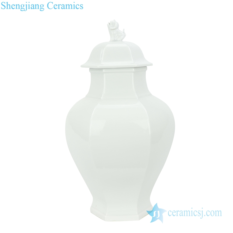 WHITE JAR WITH DOG LID