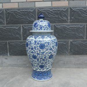 WRYTO01 28 inch Blue and white ceramic jar with flower design