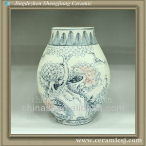 RYUJ08 Oriental blue and white top flower table vase