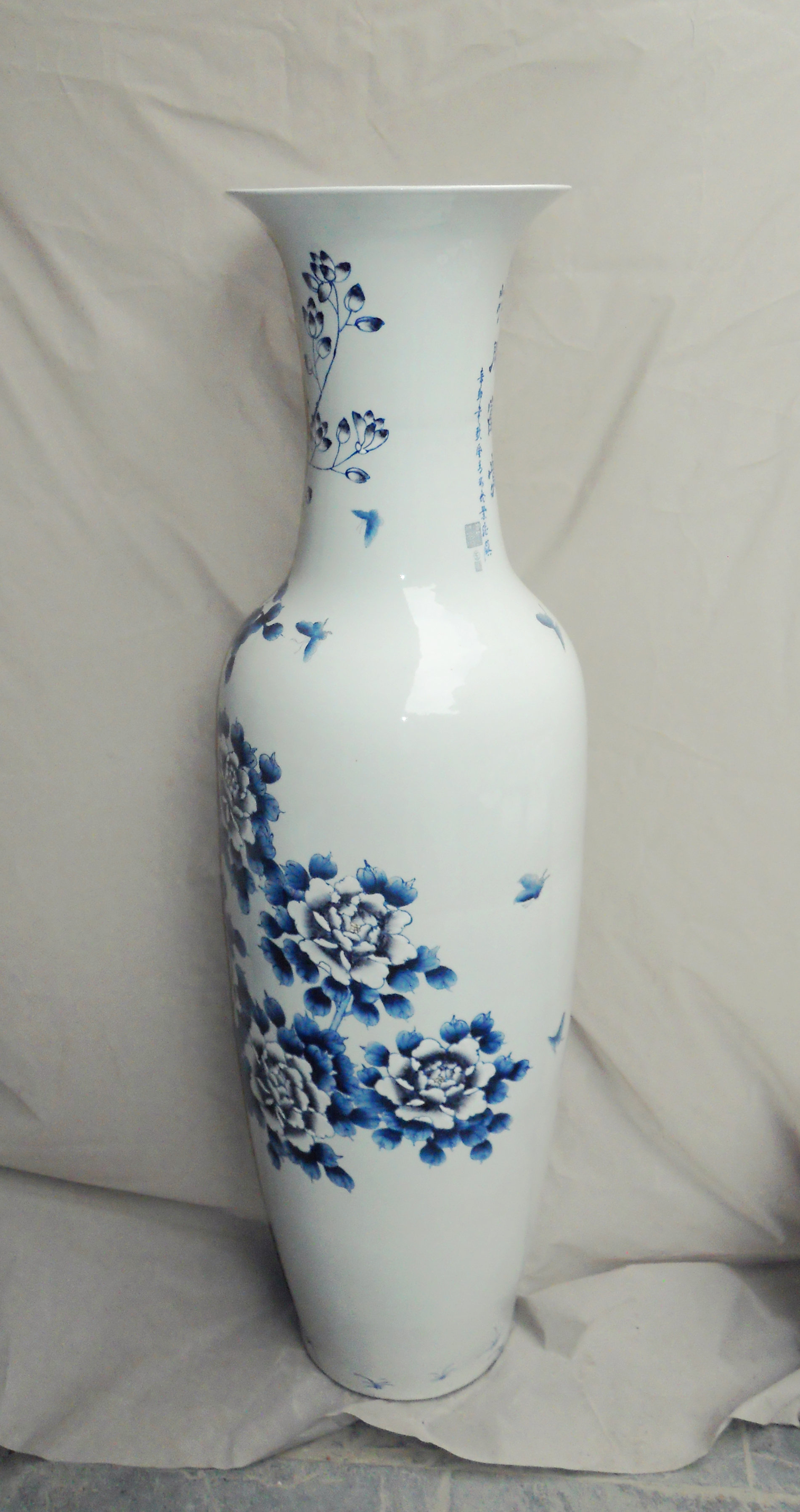 Blue Flower Design Large Chinese Floor Vase Wryul03
