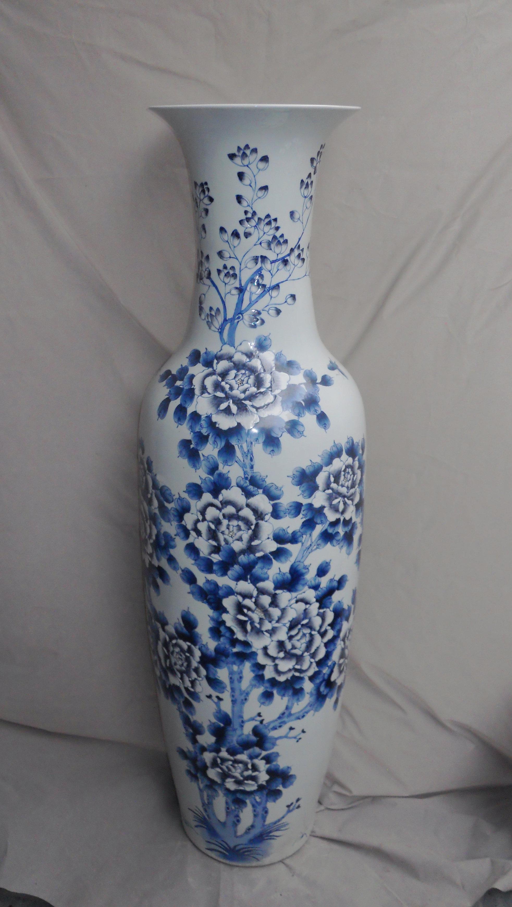 Blue Flower Design Large Chinese Floor Vase Wryul03