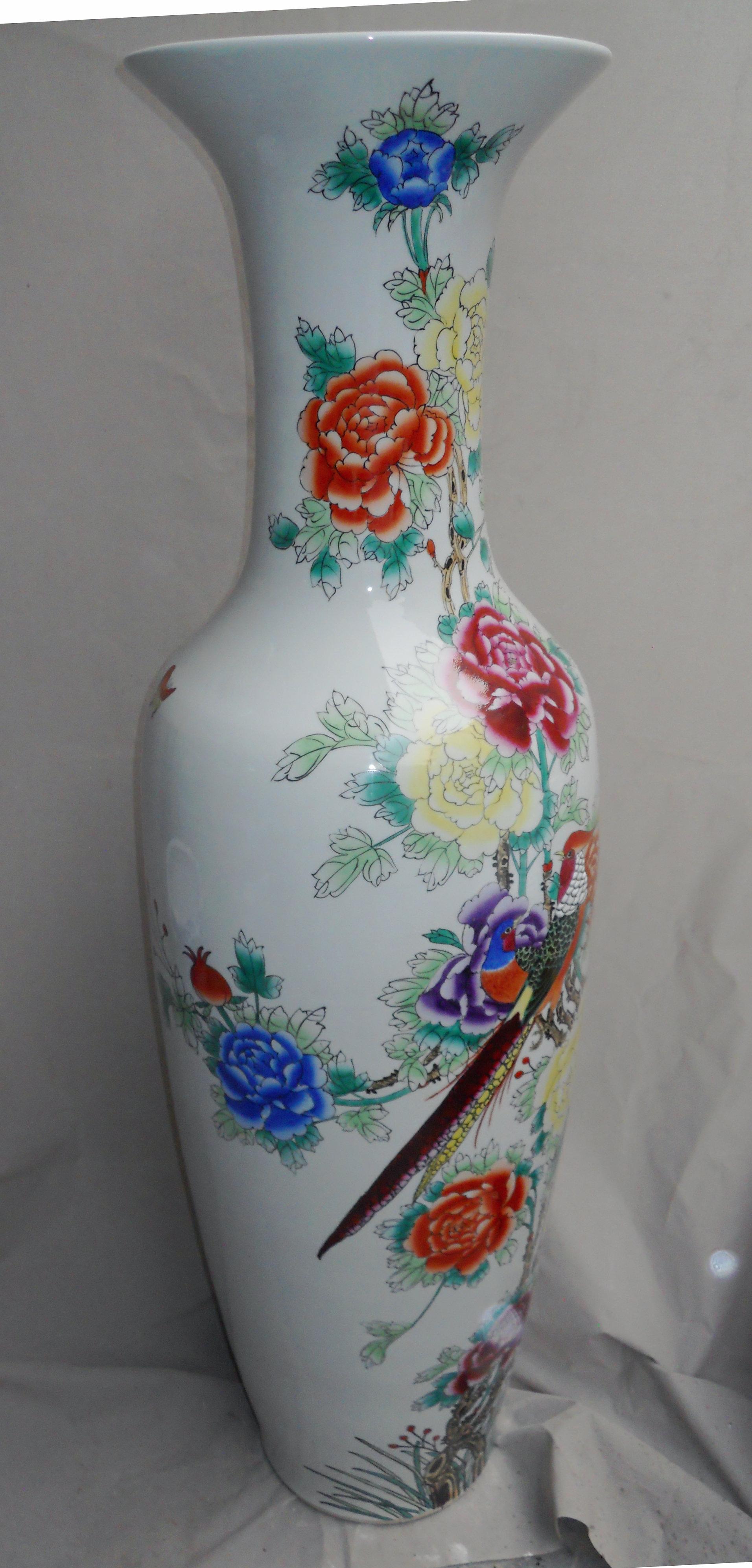 Famille Rose Flower Design Large Chinese Floor Vase