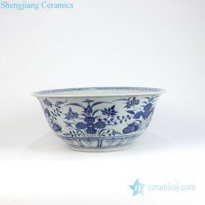 RYVH14 Blue and white mandarin duck porcelain large bowl