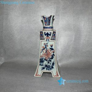RYVK03 Antique chinese blue white with red porcelain vase