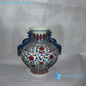RYVK08 Blue and white copper red with handle flower vases