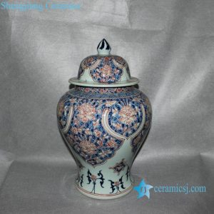 RYVK09 Blue & White Flower Temple Jar