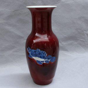 RYVX01 red blue fish design ceramic vase