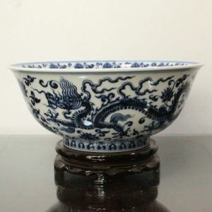 RYWB09 Ming dynasty Reproduction Blue And White Dragon Ceramic Bowl