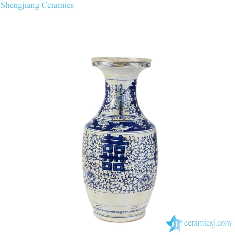 RYWD08 double happiness blue chinese vase