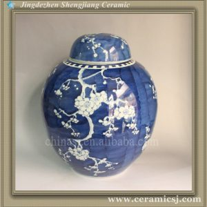 "RYWG09 13"" B & W Plum Blossom Ceramic Jars With Lid"