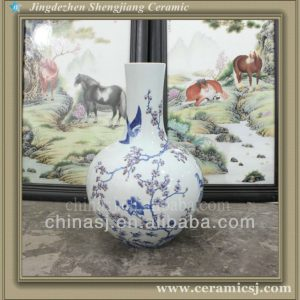 RYWU24 asian blue and white decorative floor bud vase