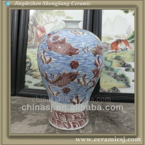 RYWU25 asian blue and white decorative floor bud vase