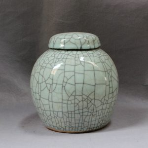 """RYXC11 8"""" and 12"""" Ceramic Crackle Pet Urn with Lid"""