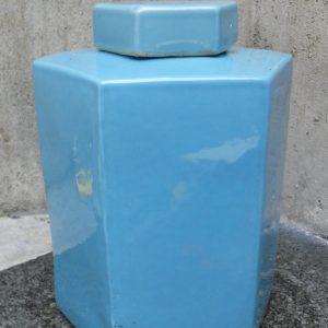 WRYKB61 Sky Blue Ceramic Hexagonal Jar