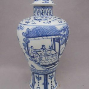 WRYPJ09 Ming Chenghua antique blue white porcelain jar