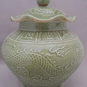 WRYPL03 Jingdezhen engraved dragon Cut-edge Ceramic Jar