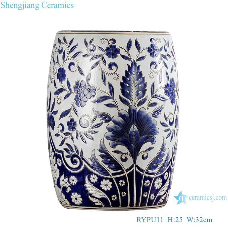 WRYPU11 blue and white flower design Garden Stool