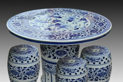 antique blue and white ceramic garden stool table set RYAY266