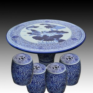 antique blue and white ceramic garden stool table set RYAY269