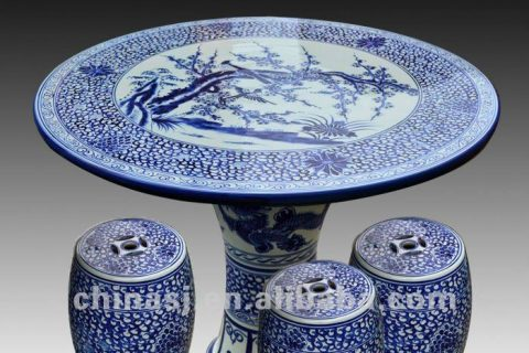 antique blue and white ceramic garden stool table set RYAY253