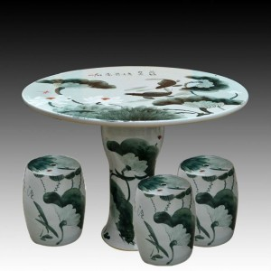 antique wucai ink and wash ceramic garden stool table set RYAY264