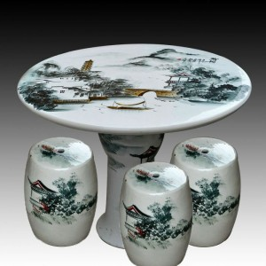 antique wucai landscape ceramic garden stool table set RYAY270